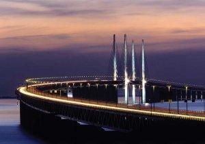 Øresundski most povezuje Švedsko in Dansko.