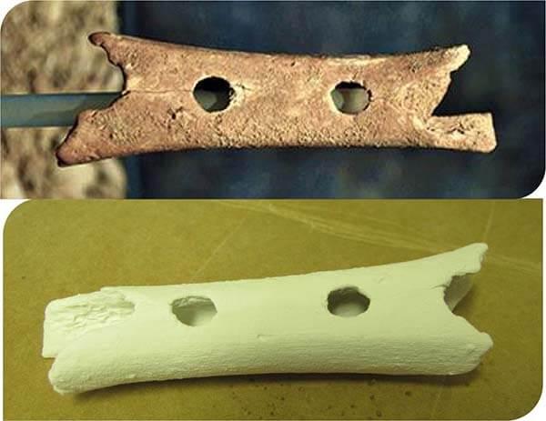 3D natisnjena replika neandertalske piščali, stare 60 000 let.