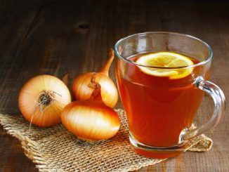 Onion tea with lemon homemade folk remedy