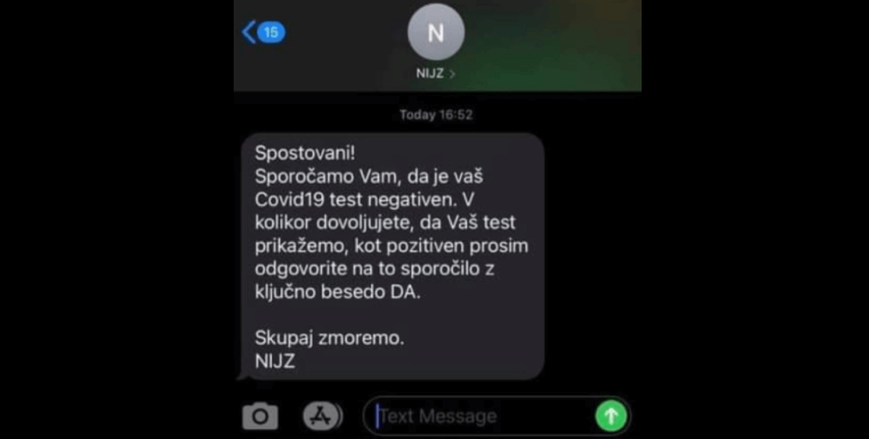 Lažni SMS, ki nakazuje, da naj bi bili testi lažno pozitivni